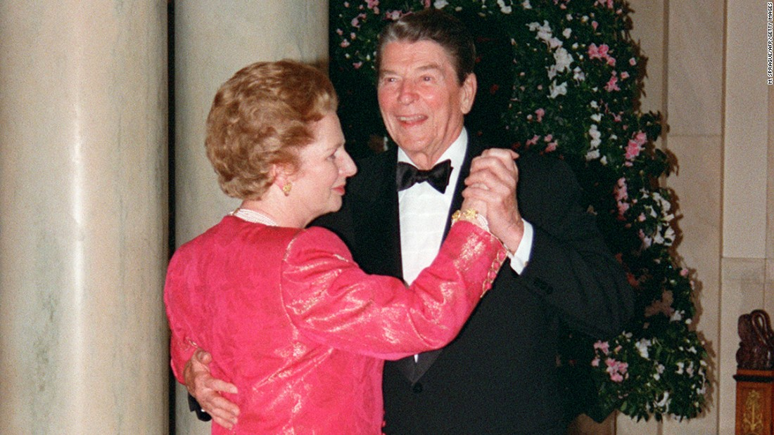 Margaret Thatcher dances with Ronald Reagan in November of 1988, following a state dinner given in her honor at the White House.