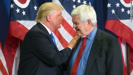 "In this photo taken July 6, 2016, Republican Presidential candidate Donald Trump and former House Speaker Newt Gingrich share the stage during a campaign rally  in Cincinnati. Running mate or not, ""Newt Gingrich is going to be involved with our government,""  Republican presidential candidate Donald Trump has said.  (AP Photo/John Minchillo)"