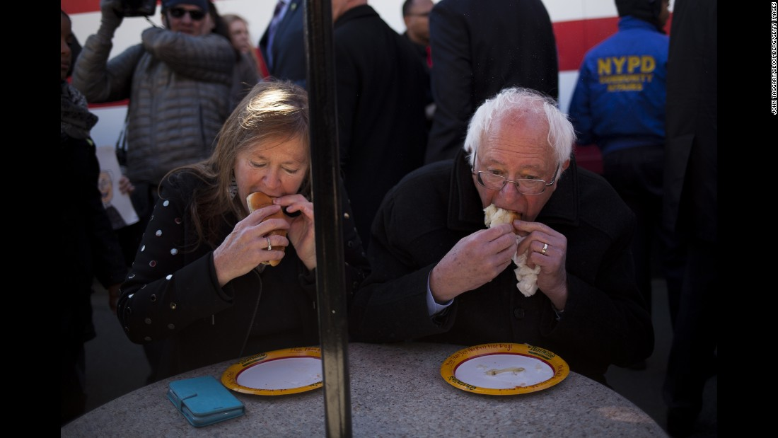 Sen. Bernie Sanders, an independent from Vermont and a 2016 Democratic presidential candidate (right), and his wife Jane ate Nathan's Famous hot dogs after a campaign event in Brooklyn on April 10, 2016.