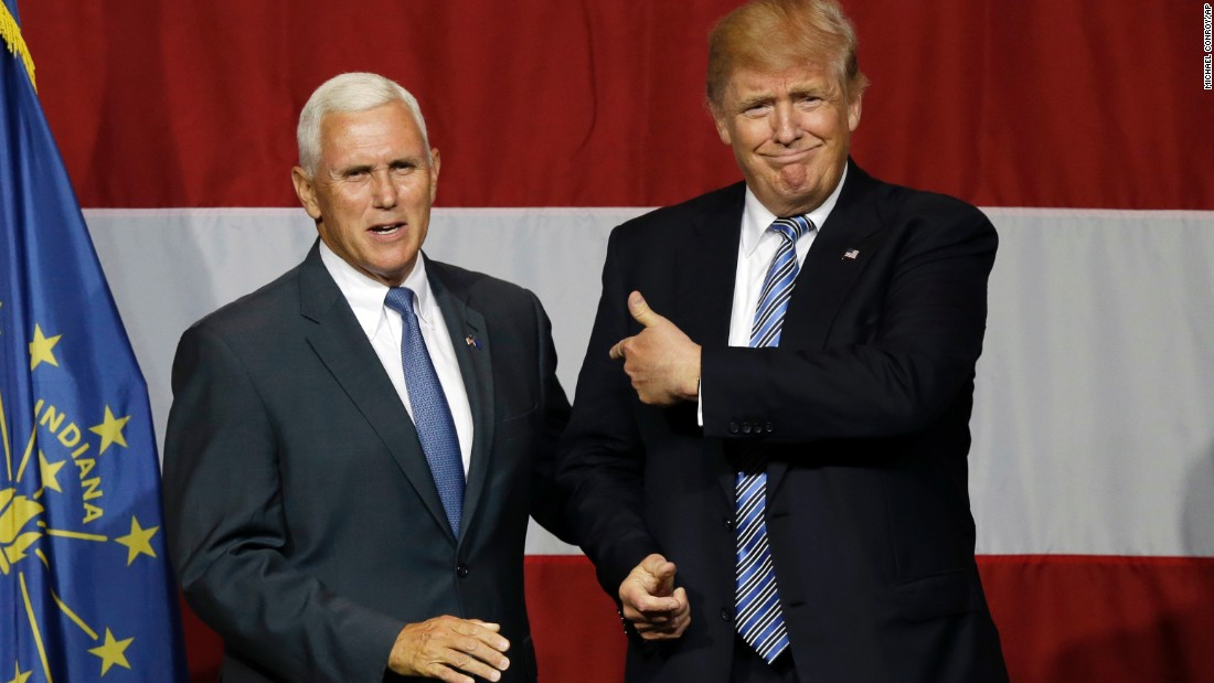 Pence joins 2016 Republican presidential candidate Donald Trump at a rally in Westfield, Indiana, on July 12, 2016.