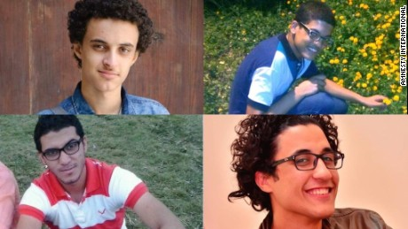 Omar Ayman Mohamed Mahmoud, Aser Mohamed, Karim abd el-Moaz and Nour Khalil (top left to bottom right) are just some of those who have disappeared, says Amnesty.