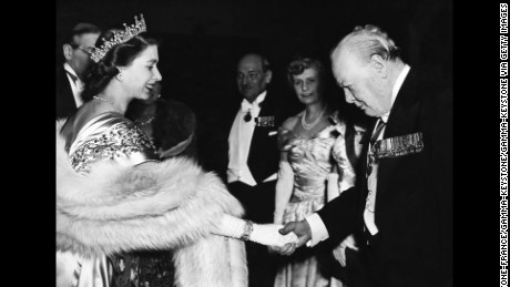 Princess Elizabeth greeting Winston Churchill At Guildhall on March 23, 1950.