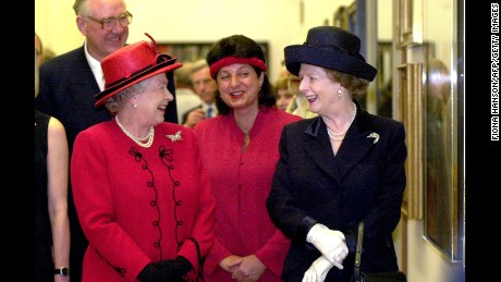 The Queen chats with Margaret Thatcher at the National Portrait Gallery in London May 4, 2000.