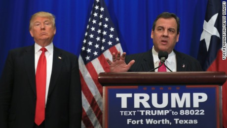 New Jersey Governor Chris Christie announces his support for Republican presidential candidate Donald Trump during a rally at the Fort Worth Convention Center on February 26, 2016 in Fort Worth, Texas. Trump is campaigning in Texas, days ahead of the Super Tuesday primary.