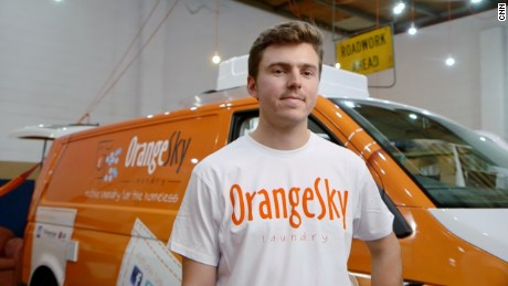 Inspired by his college volunteer work, Nicholas Marchesi created Orange Sky Laundry -- a free laundromat-on-wheels for Australia's low-income and homeless population.