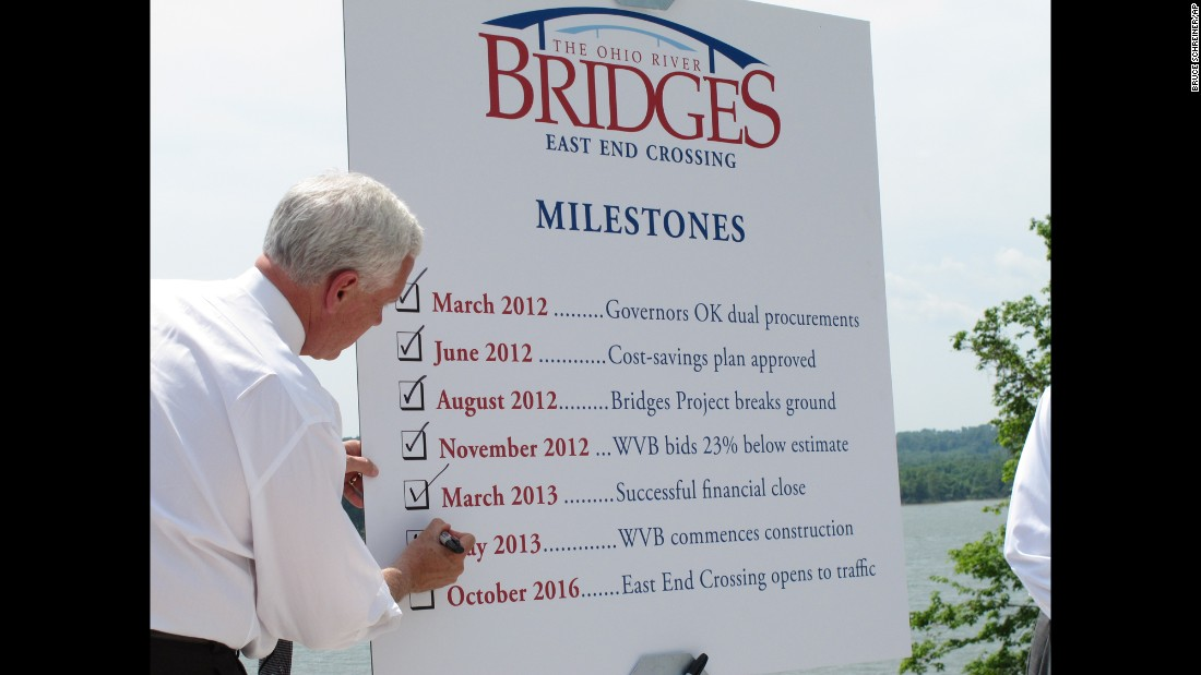 Pence checks off a milestone on May 29, 2013, for a new Ohio River bridge that will connect Indiana to Kentucky, just east of Louisville. At the time, Pence said the new bridge, which is expected to open in 2016 between Utica, Indiana, and Prospect, Kentucky, would create jobs and economic opportunities in the area.