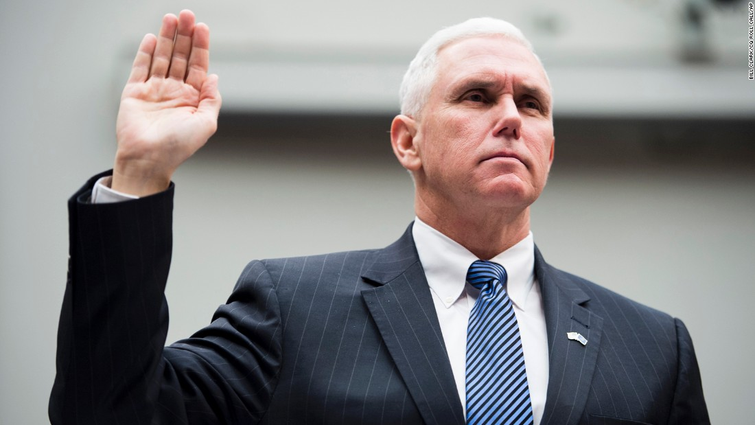 "Pence is sworn in during the House Education and the Workforce Committee hearing on the ""State of American Schools and Workplaces: Expanding Opportunity in America's Schools and Workplaces"" on February 4, 2015."