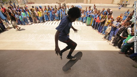 There is a small but growing community of skaters in Ethiopia. 150 kids are part of community collective Ethiopia Skate. Before, skaterboarders used a parking lot in Sarbet but would have to compete with those playing soccer and parked taxis. There were also issues with street bullies. Now they have a purpose-built skate park in the neighborhood of Bisrate Gabriel.