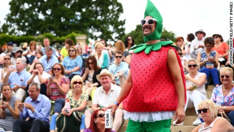 """Strawberry Man"" watches the tennis from Murray mound."