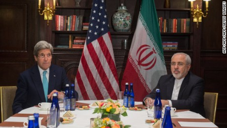 U.S. Secretary of State John Kerry meets with Iran's Foreign Minister Mohammad Javad Zarif in April this year.