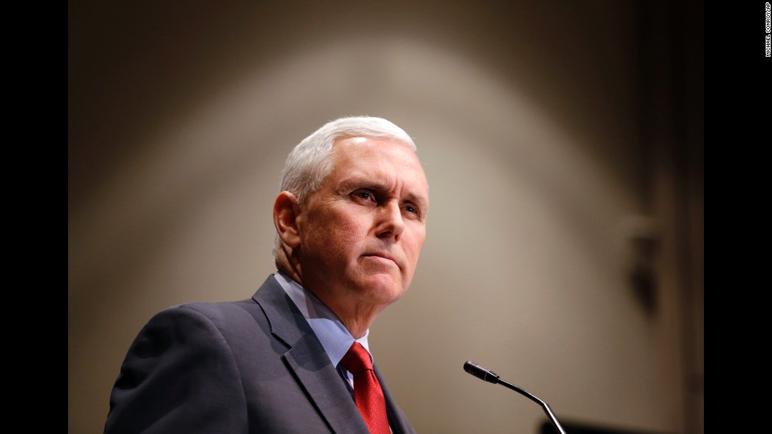 "Republican presidential candidate Donald Trump has indicated to Indiana Gov. Mike Pence that he is moving toward <a href=""http://www.cnn.com/2016/07/14/politics/donald-trump-vice-presidential-choice/index.html"">choosing the Indiana governor as his vice presidential nominee</a>, a source familiar with the process tells CNN. In this image, Pence announces that the Centers for Medicaid and Medicare Services had approved the State's waiver request for the plan his administration called HIP 2.0 during a speech in Indianapolis on January 27, 2015."
