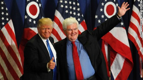 Former Speaker of the House Newt Gingrich introduces Republican Presidential candidate Donald Trump during a rally at the Sharonville Convention Center on July 6 in Cincinnati, Ohio.