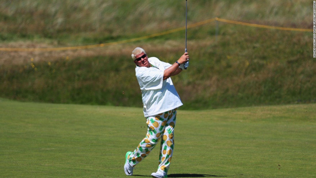 And finally, just in case you thought you hadn't seen enough of John Daly over the years, the 50-year-old -- who won the 1995 Open -- showed off his pins with a pair of pineapple trousers on his way to a four-over 75. Majestic.