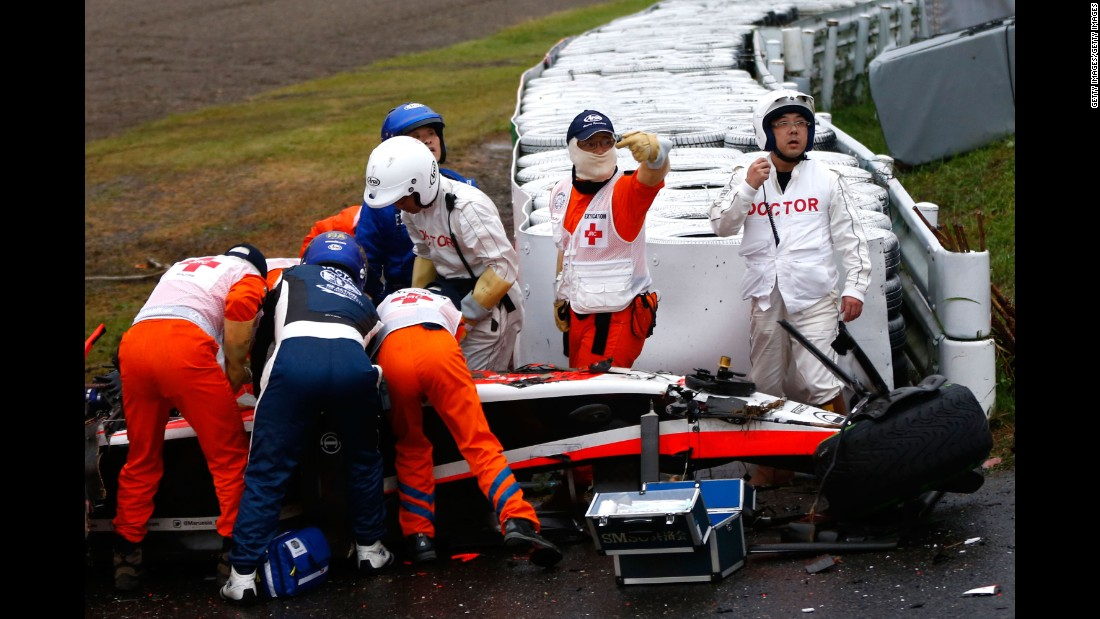 Bianchi receives urgent medical treatment after crashing during the Japanese GP at the Suzuka Circuit. The crash was seen by millions of F1 fans watching around the world.