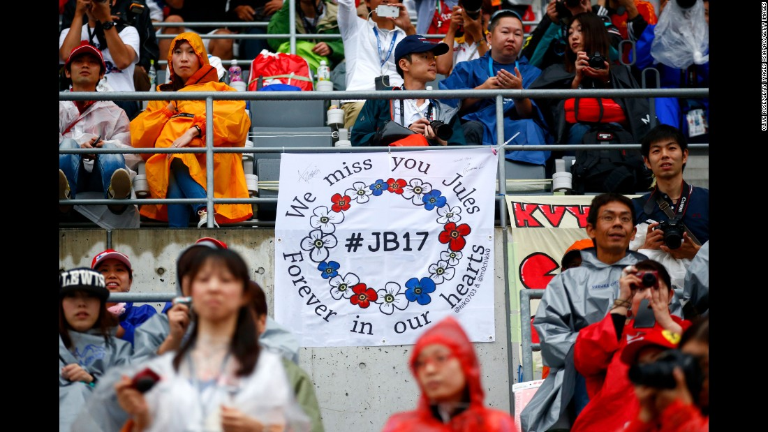A Bianchi tribute is displayed by a fan at Japan's Suzuka Circuit on September 24, 2015 in Suzuka, Japan.