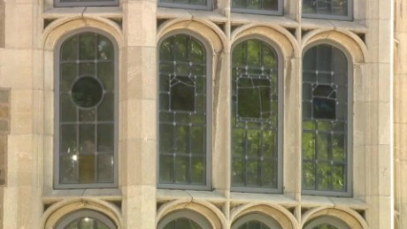 Yale employee smashes window depicting slavery