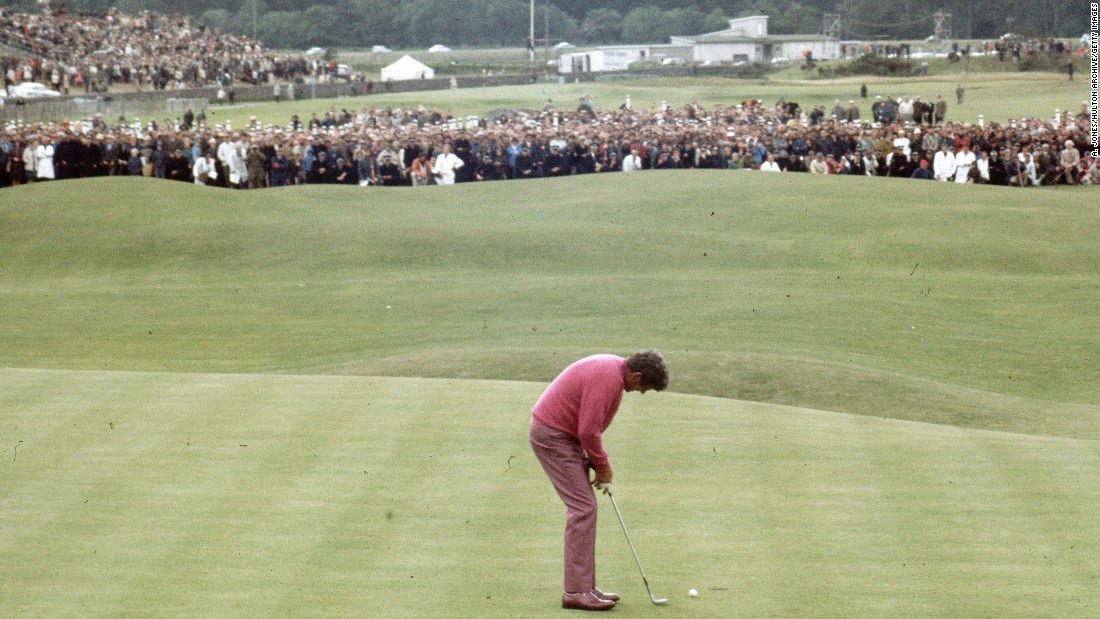 "A two to three foot putt away from greatness, the ""Peacock of the Fairways"" Doug Sanders seemed to have it all under control at St Andrews. One missed opportunity later, he appeared to carry the weight of the world on his shoulders -- losing out to Jack Nicklaus in a playoff the next day."