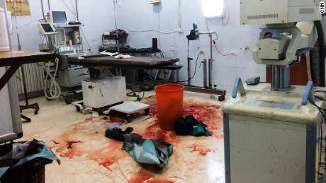 Blood on the floor of the operating theater of an Aleppo hospital after emergency surgery.
