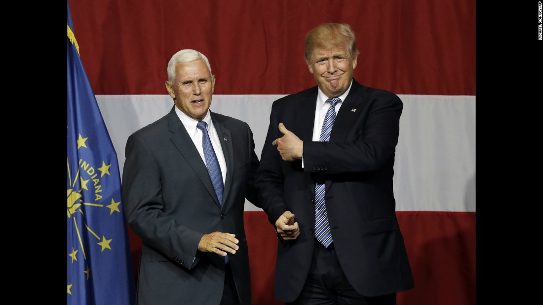 "Indiana Gov. Mike Pence joins Republican presidential candidate Donald Trump at a rally in Westfield, Indiana, on Tuesday, July 12. CNN learned Thursday evening that <a href=""http://www.cnn.com/2016/07/14/politics/donald-trump-vice-presidential-choice/index.html"" target=""_blank"">Trump offered Pence the vice presidential slot on his ticket</a>, and Pence accepted."