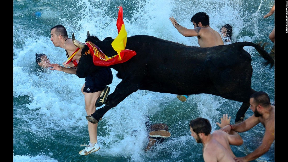 "Spectators jump into water during a traditional running of the bulls event called ""Bous a la mar,"" or ""Bull to the sea,"" on Denia Harbor in Spain on Saturday, July 9."