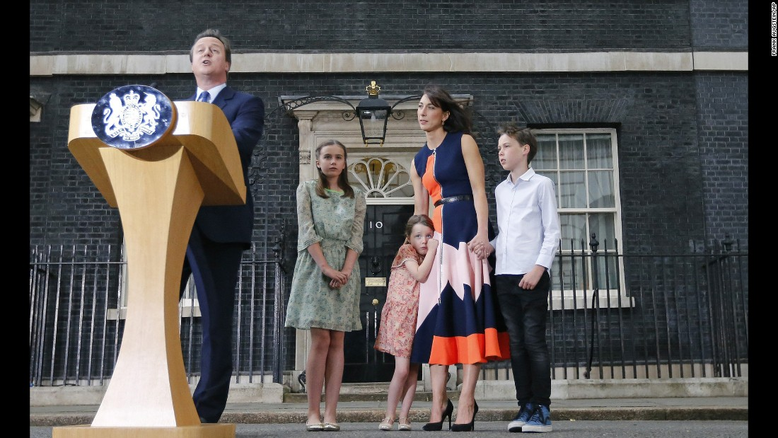 "Former British Prime Minister David Cameron speaks to the media as his wife and children look on at 10 Downing Street in London on Wednesday, July 13. Tuesday marked <a href=""http://www.cnn.com/2016/07/12/europe/david-cameron-downing-street-removal/"" target=""_blank"">the final full day of Cameron's six-year run as Prime Minister</a>."