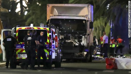 Police are at the scene with the truck used in the Bastille Day attack on Nice's Promenade des Anglais.