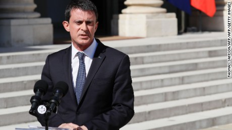 "French Prime Minister Manuel Valls makes a statement following a security meeting with French President on July 15, 2016 at the Elysee Palace in Paris, a day after a gunman smashed a truck into a crowd of revellers celebrating Bastille Day in the city of Nice.  An attack in Nice where a man rammed a truck into a crowd of people left 84 dead and another 18 in a ""critical condition"", interior ministry spokesman Pierre-Henry Brandet said on July 15. An unidentified gunman barrelled the truck two kilometres (1.3 miles) through a crowd that had been enjoying a fireworks display for France's national day before being shot dead by police. / AFP / Thomas SAMSON        (Photo credit should read THOMAS SAMSON/AFP/Getty Images)"