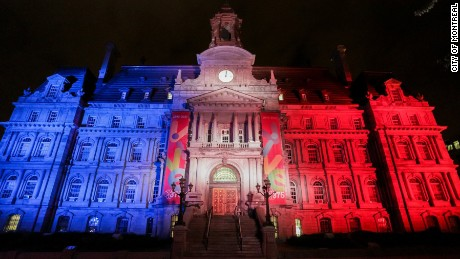 City of Montreal town hall lit up to pay respect to victims of the Nice attack in France.