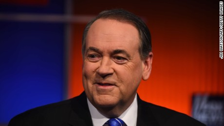 Republican Presidential candidate Mike Huckabee looks on during the undercard Republican Presidential debate sponsored by Fox News at the Iowa Events Center in Des Moines, Iowa on January 28, 2016.