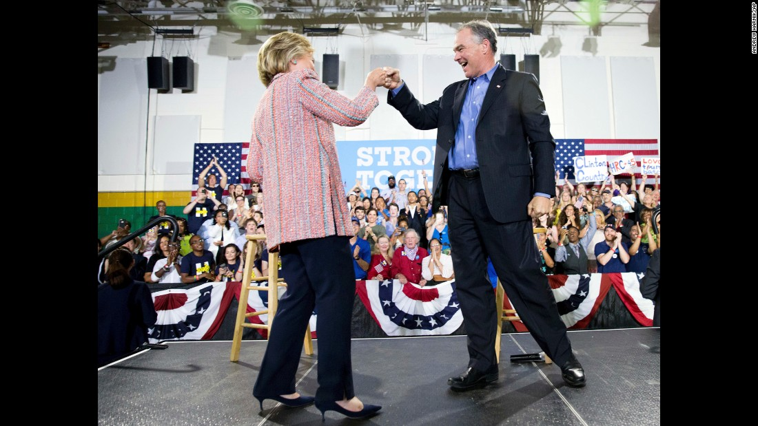 "Democratic presidential candidate Hillary Clinton fist bumps Virginia Sen. Tim Kaine after speaking at a rally at Northern Virginia Community College in Annandale on Thursday, July 14. Kaine has been <a href=""http://www.cnn.com/2016/07/14/politics/hillary-clinton-vice-president-choice/"" target=""_blank"">rumored to be one of Clinton's possible choices for vice president</a>."
