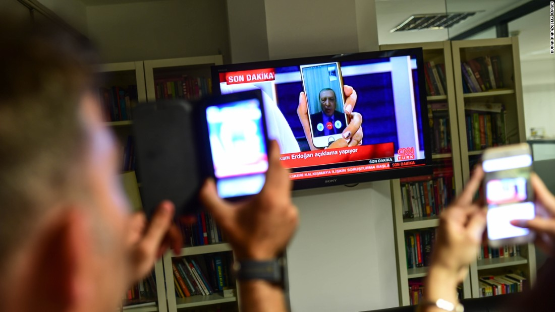 President Recep Tayyip Erdogan speaks on CNN Turk via a FaceTime call in Istanbul after members of the country's military attempted to overthrow the government.