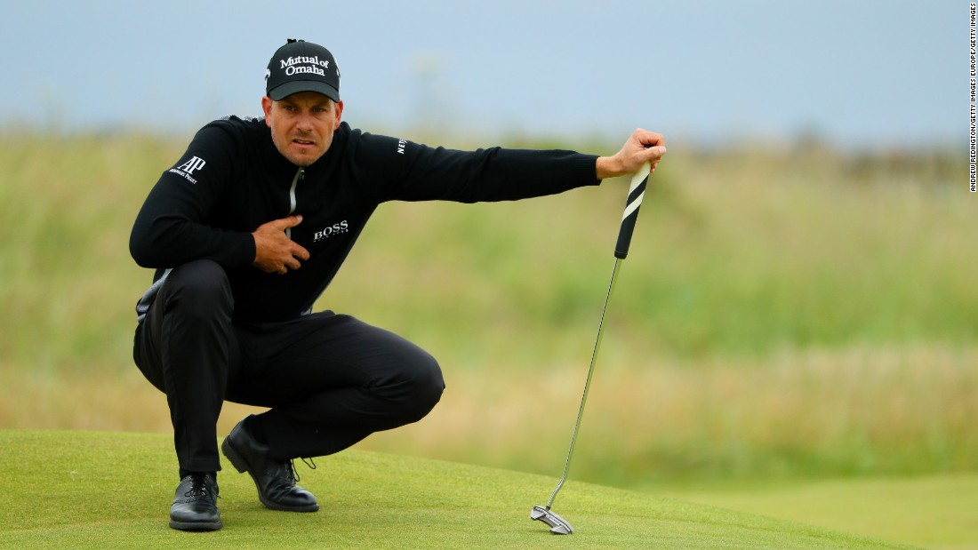 Sweden's Henrik Stenson also copped the rain but shot a remarkable 65 to close Mickelson's lead to one.