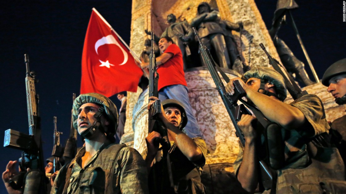 Soldiers secure an area as supporters of Turkish President Recep Tayyip Erdogan protest in Istanbul's Taksim Square.