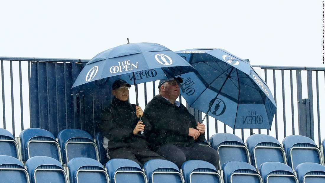 """Rain was Friday's major theme, which will become known as the """"Troon monsoon."""""""
