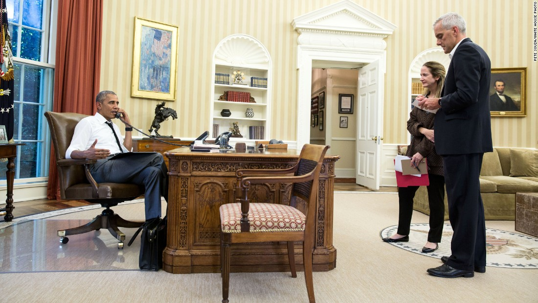 "President Barack Obama talks on the phone  with Secretary of State John Kerry regarding <a href=""http://edition.cnn.com/2016/07/15/asia/turkey-military-action/index.html"" target=""_blank"">the situation in Turkey</a> on Friday July 15. Chief of Staff Denis McDonough and Avril Haines, deputy national security adviser, listen."