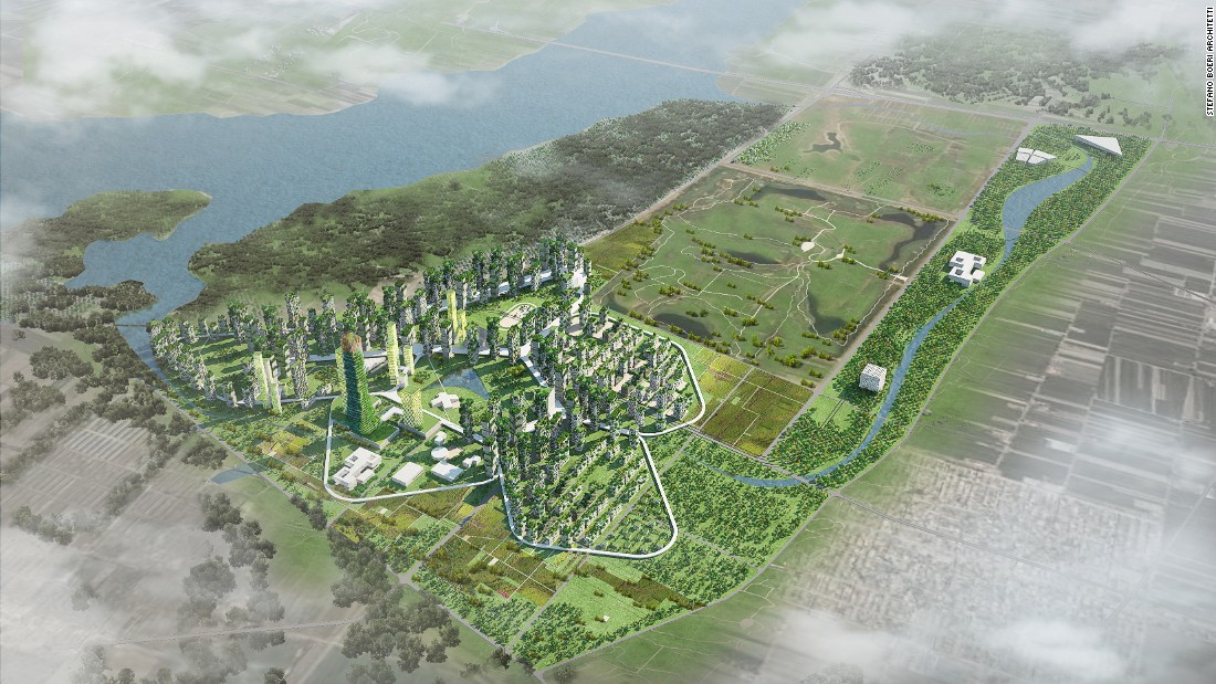 Forest City Shijiazhaug, designed for the Hebei province of China, is prototype of compact green cities for 100,000 inhabitants.