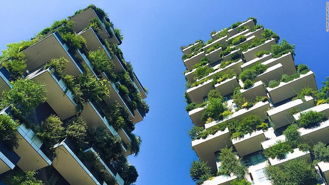 "Milan's ""Vertical Forest"" is an award-winning skyscraper which houses numerous trees and shrubs."