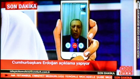 President Erdogan spoke to CNN Turk via Facetime during the coup attempt.