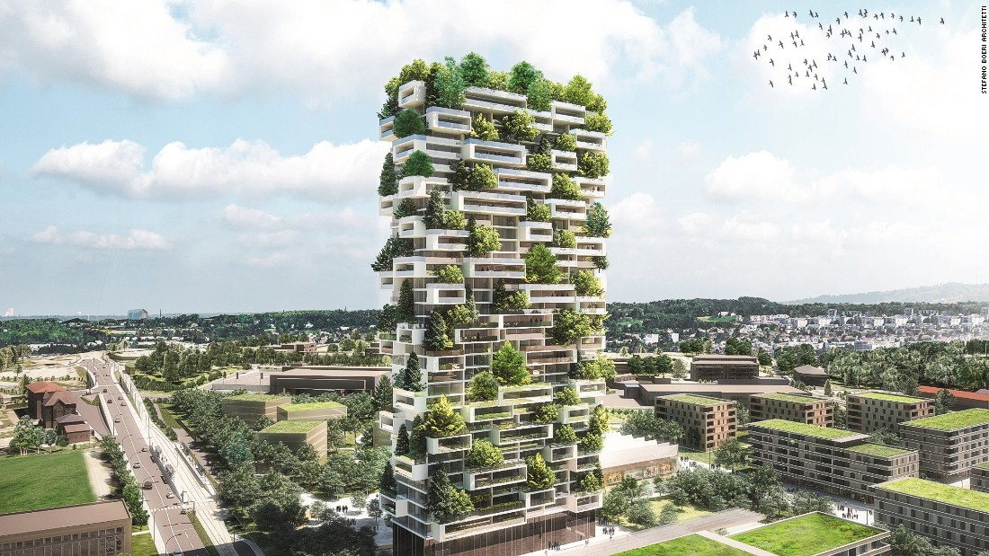 Boeri's proposed high-rise in Lausanne, Switzerland, is a 36-story home to more than 100 trees, 6,000 shrubs and 18,000 plants.