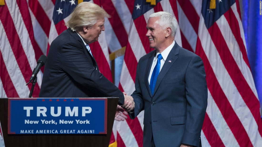 "Republican presidential candidate Donald Trump introduces Indiana Gov. Mike Pence during a <a href=""http://www.cnn.com/2016/07/16/politics/donald-trump-mike-pence-campaign-trail/index.html"" target=""_blank"">campaign event to announce Pence </a>as his vice presidential running mate on Saturday, July 16, in New York."