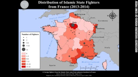 A map from the Combating Terorism Center shows the distribution of French ISIS recruits.