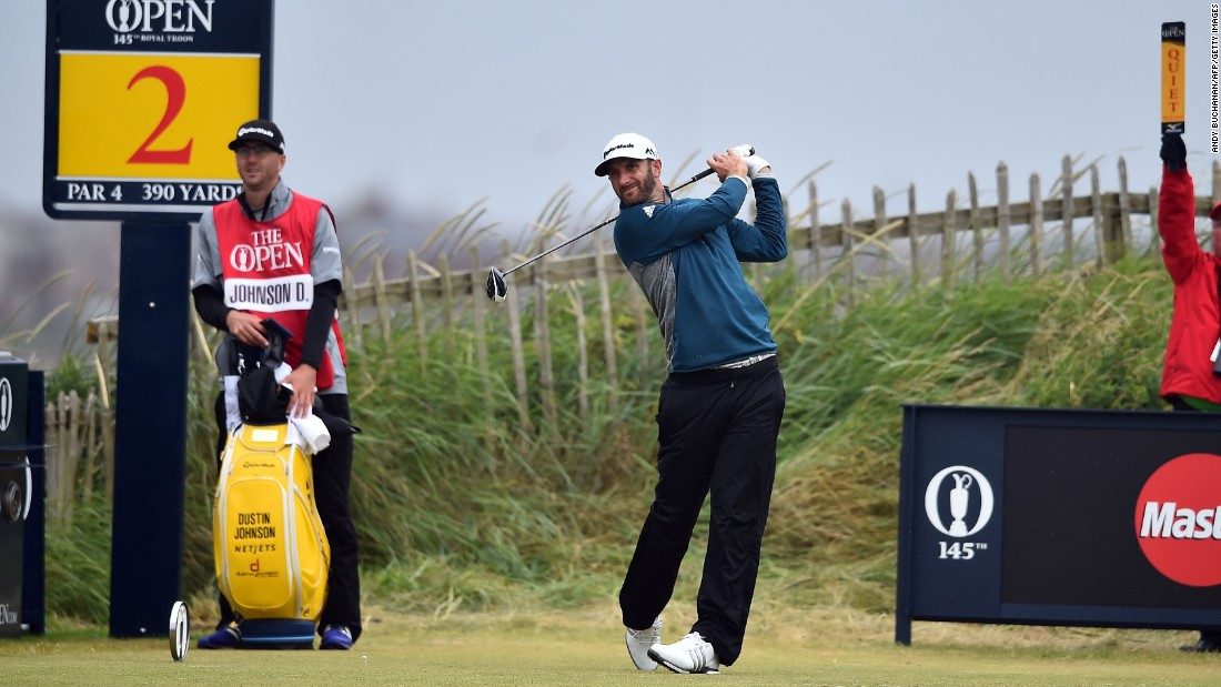 U.S. Open champion Dustin Johnson challenged at five-under until dropping four shots on the back nine of his third round at Royal Troon.