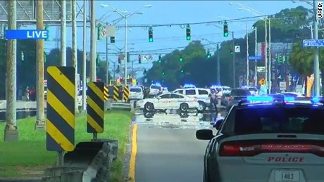 Scene of shooting in Baton Rogue, Louisiana, Sunday July 17.