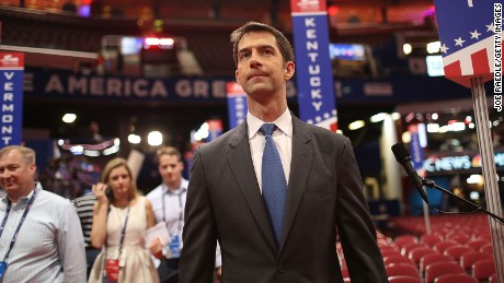 Sen. Tom Cotton (R-AR) visits the Quicken Loans Arena ahead of the Republican National Convention on July 17, 2016 in Cleveland, Ohio.