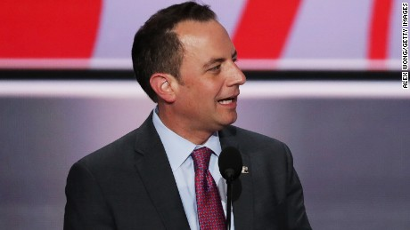 Reince Priebus, chairman of the Republican National Committee, speaks during a microphone test prior to the start of the Republican National Convention on July 17, 2016 at the Quicken Loans Arena in Cleveland, Ohio.