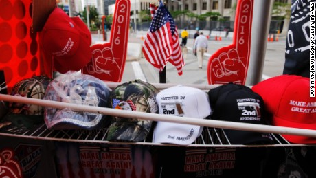 Donald Trump souvenirs are seen amid preparations for the arrival of visitors and delegates for the Republican National Convention on July 17, 2016, in Cleveland, Ohio.