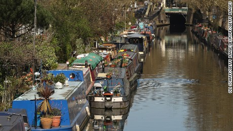Boats line the canals of Little Venice, West London.