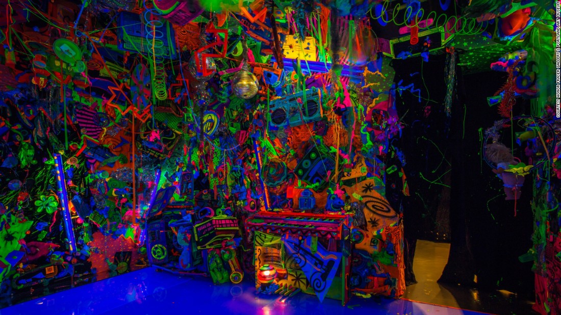 "Pop surrealist Kenny Scharf built the first of his ""Closets"" in New York, 1981 in a loft he shared with Keith Haring. ""I made it as a place to go and trip,"" <a href=""http://kennyscharf.com/wp-content/uploads/2013/10/ARTNEWS-985-GERALD-MARZORATI.pdf"" target=""_blank"">he explains</a>, recalling a period ""when I was really into mushrooms -- doing them maybe once a week."" Scharf's ""safe space"" evolved, becoming a cathedral of Day-Glo bricolage, with over 30 iterations in four decades, from LA to Tokyo. His latest offerings, the Cosmic Cavern at the <a href=""http://portlandartmuseum.org/exhibitions/kenny-scharf-cosmic-cavern/"" target=""_blank"">Portland Art Museum</a> and the <a href=""http://nassaumuseum.org/exhibits_tahari.php"" target=""_blank"">Nassau County Museum of Art</a>, show Scharf's desire to cram as much psychedelic goodness into one space as possible is anything but diminished."