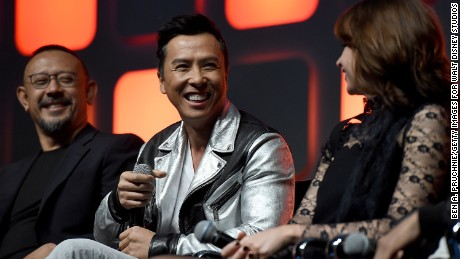 Cast members at the event included, from left, Jiang Wen, Donnie Yen and Felicity Jones.
