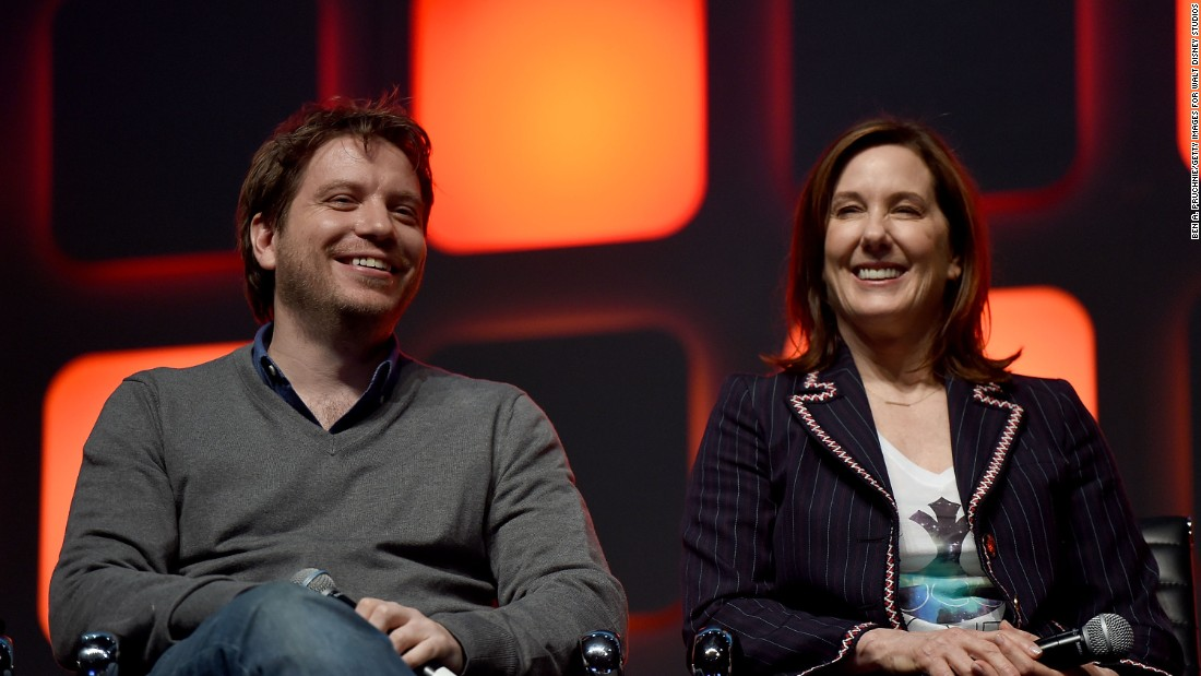 Director Gareth Edwards and producer Kathleen Kennedy during the panel.